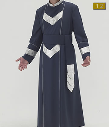 Navy polyester Anglican cassock with curved neckline, grey piping on both sides of chest, Salvatore silver lurex, V accents at chest and waist, on cuffs, across shoulders and collar and center pleat