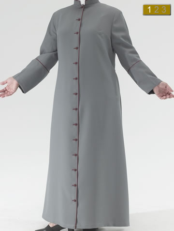 Contemporary Dark Grey Polyester Roman style cassock with burgundy piping and burgundy cloth covered buttons