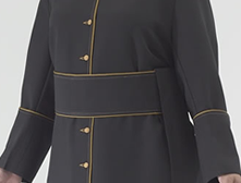 Black polyester Roman style cassock with old gold piping and old gold cloth buttons