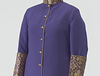 Purple Polyester Roman Style Cassock with old gold piping and cloth covered buttons