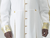 White polyester Roman Style cassock with old gold piping, old gold cloth covered buttons, Salvatore gold lurex brocade featured in French cuffs, open pleated sleeves and two front pleats