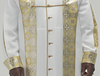 White polyester Chimere with Salvatore gold lurex brocade front panels and extended to the back yoke
