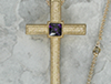 Pebbled Finish Gold Clergy Cross available in Amethyst in the center of the cross