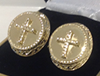 Gold plated cross cufflinks