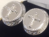 Silver Plated Cross Cufflinks