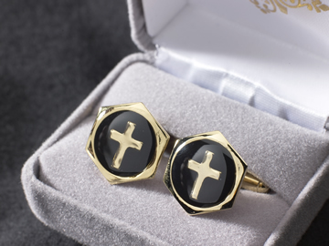 Gold plated enameled cufflinks