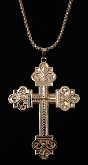 Large Scrolled Design Gold Plated Cross