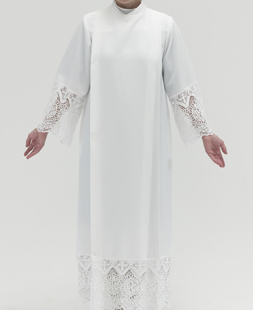 "White Polyester Alb with Velcro Shoulder Closure and 9"" IHS lace on sleeves and bottom"